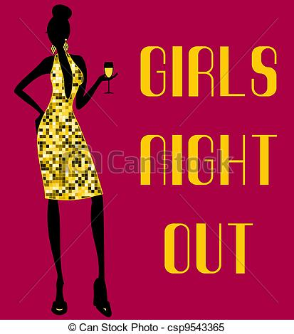 ... Girls Night Out - Illustration of a young woman in a shiny.