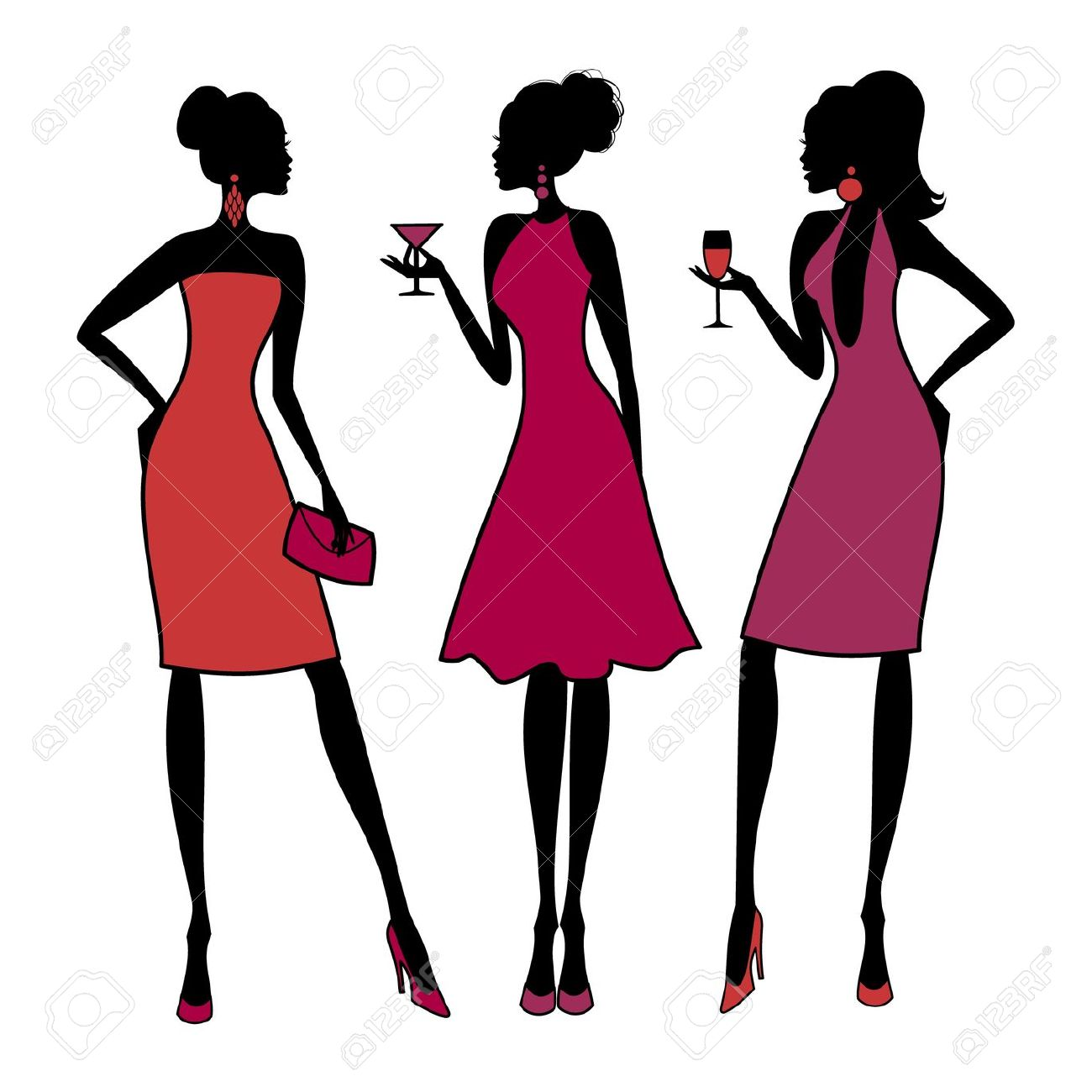 girls night: Three young .