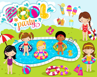 Girls pool party clipart , pool clipart,-Girls pool party clipart , pool clipart, pool party digital clipart / instant download - EPS and PNG-12