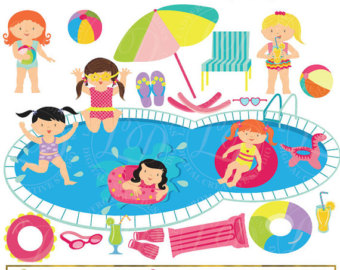 Girls Pool Party Clipart, Pool Party Clip Art, Summer Party, Swimming Girls, Splash, Summer, Swimming, Commercial-Personal Use