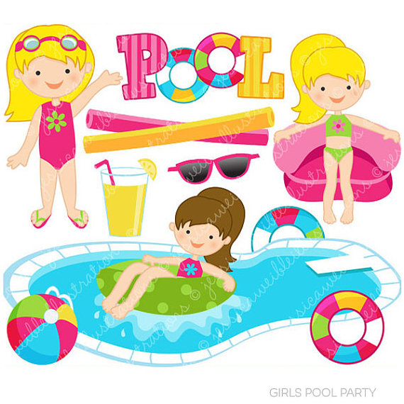 Girls Pool Party Cute Clipart, Pool Party Clip Art, Summer Party, Swimming Pool