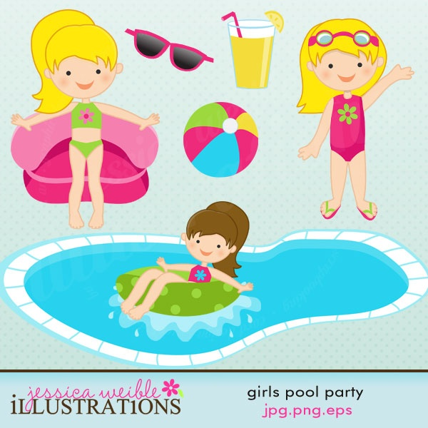 Girls Pool Party Cute Clipart
