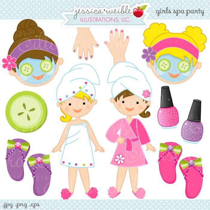 Girls Spa Party Cute Digital Clipart Com-Girls Spa Party Cute Digital Clipart Commercial By Jwillustrations-8