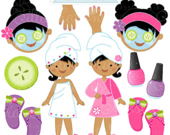 Girls Spa Party V2 Cute Digital Clipart, Commercial Use OK, Spa Party Graphics,