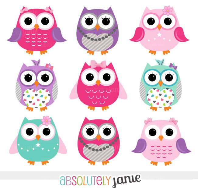 Girly Pink Purple Owls Digital Clipart - INSTANT DOWNLOAD - Clip Art Commercial Use. $5.00