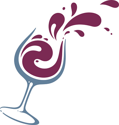 Glass of wine vector art .
