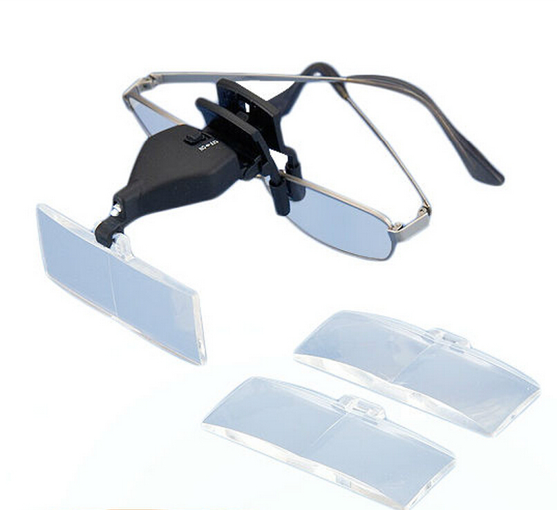 Glasses Clip Type Hands Free Magnifier W-Glasses Clip Type Hands Free Magnifier With LED Light and Three Lens 1.5X 2.5X-15