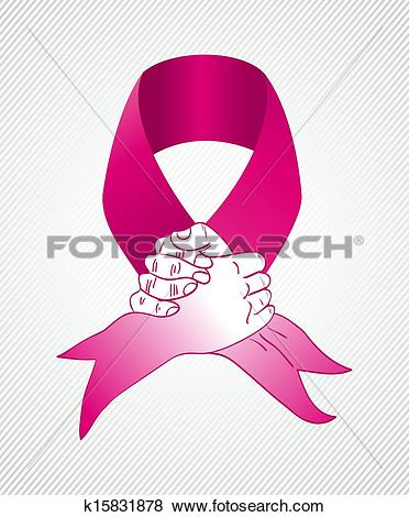 Global collaboration breast cancer awareness concept illustration. Human hands shake together creating a ribbon symbol. EPS10 vector file organized in ...