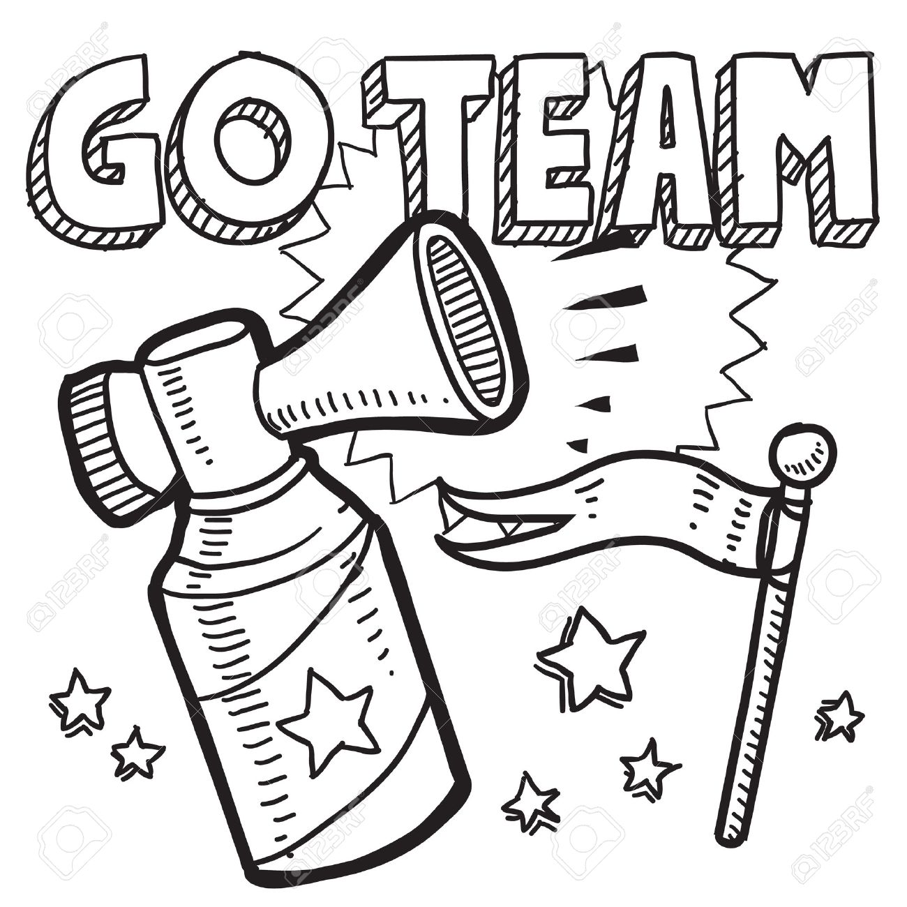 Go Team Black And White Clipart #1