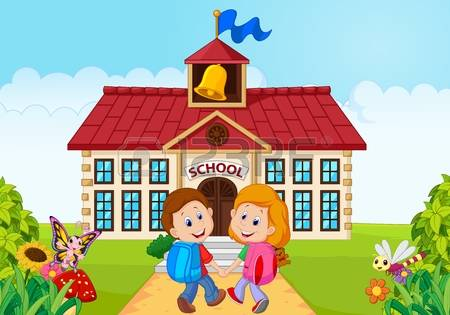 go to school: Vector illustratio of Happy little kids going to school