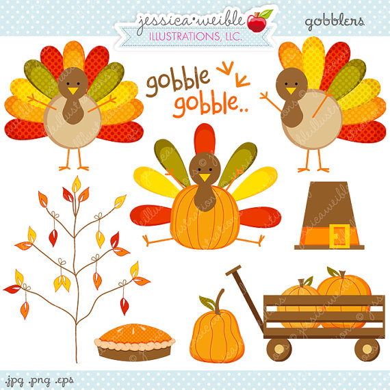 Gobblers Thanksgiving Clipart - Commerci-Gobblers Thanksgiving Clipart - Commercial Use OK - Thanksgiving Graphics, Turkey Clipart, Cute Thanksgiving-9