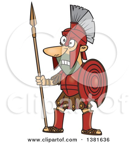 Cartoon Greek God Of War Ares In Full Armor Holding A Spear by toonaday