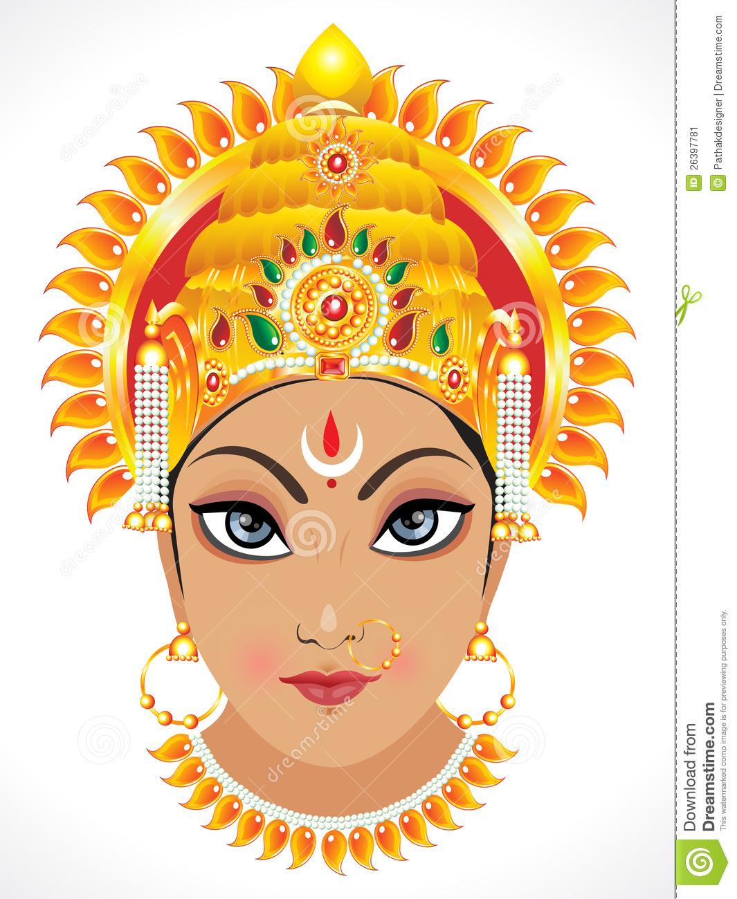 Abstract Goddess Durga Face Stock Vector-Abstract Goddess Durga Face Stock Vector - Illustration of clip, kali:  26397781-19