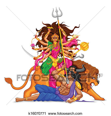 Clipart - Happy Dussehra With Goddess Du-Clipart - Happy Dussehra with goddess Durga. Fotosearch - Search Clip Art,  Illustration Murals-3