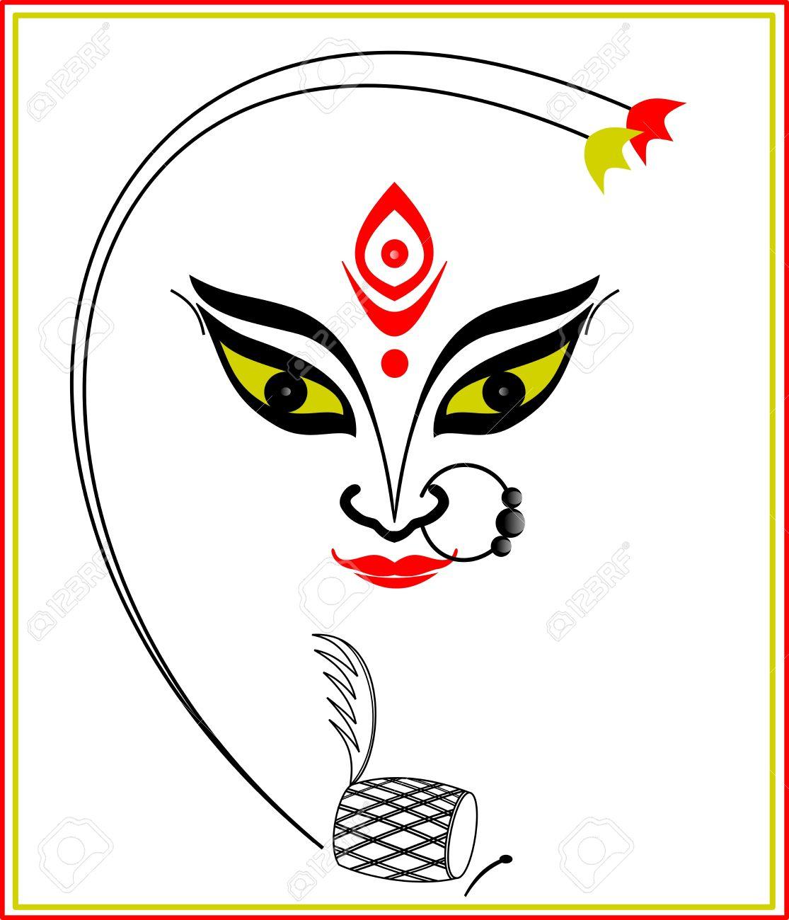 Durga Maa Face Sketches Hindu Clipart Go-Durga Maa Face Sketches Hindu Clipart Goddess Durga u2013 Pencil And In Color  Hindu Clipart-4