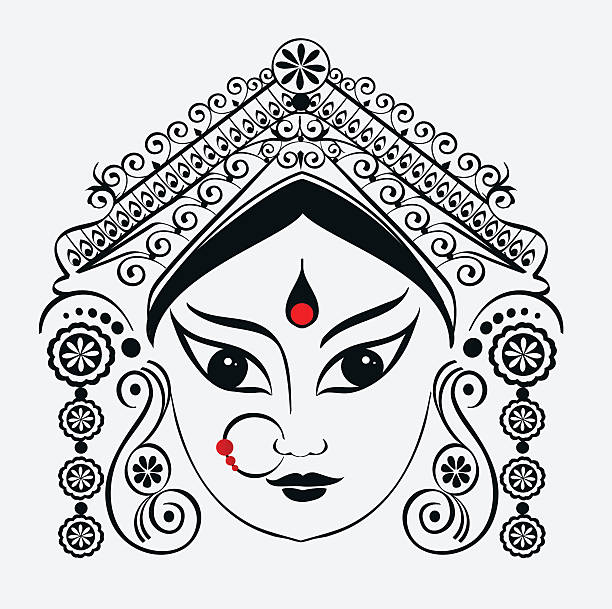 Durga, Saraswati, Lakshmi. vector art illustration