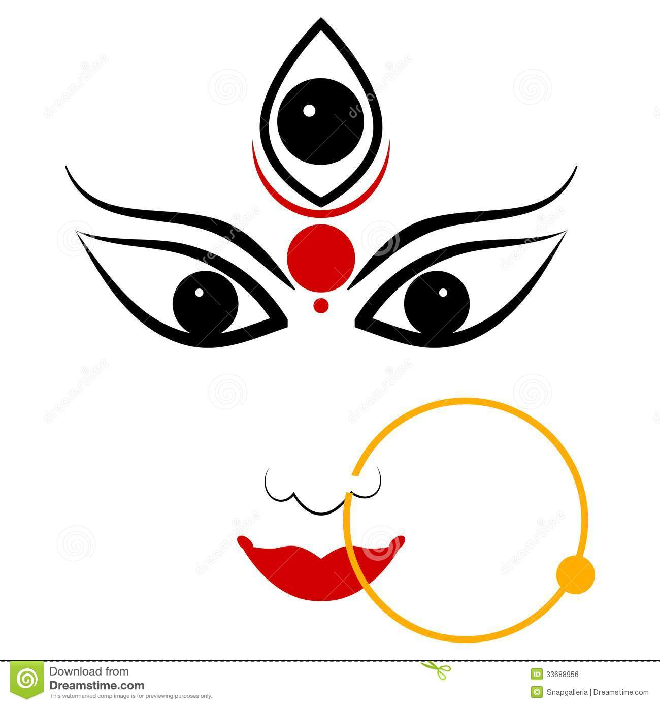 Goddess Durga. Easy to edit vector illustration of Goddess Durga Royalty  Free Stock Image