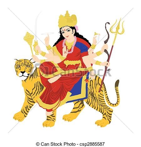 goddess durga on tiger, statue with white background - csp2885587
