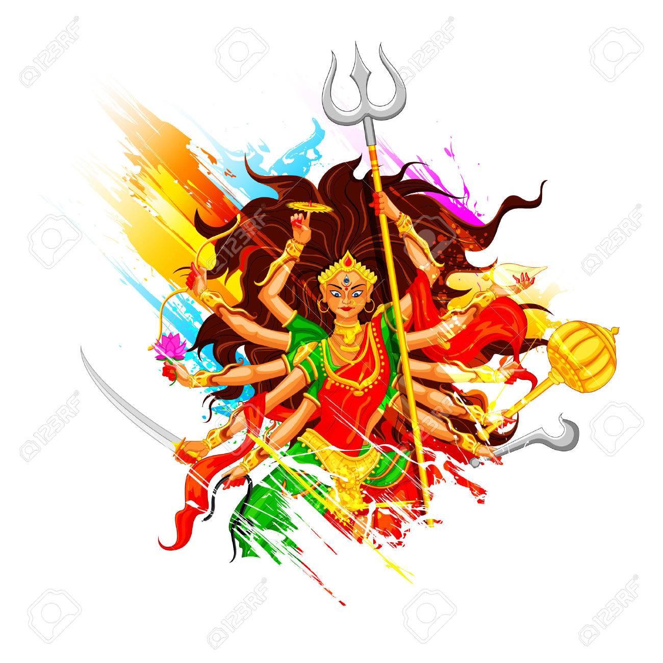 illustration of goddess Durga in Subho B-illustration of goddess Durga in Subho Bijoya (Happy Dussehra) background  Stock Vector - 25737204-10