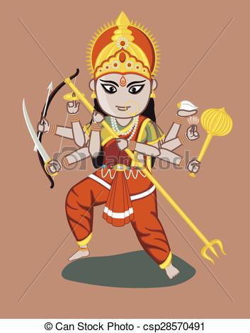 Maa Durga - Indian Goddess - csp28570491-Maa Durga - Indian Goddess - csp28570491-12