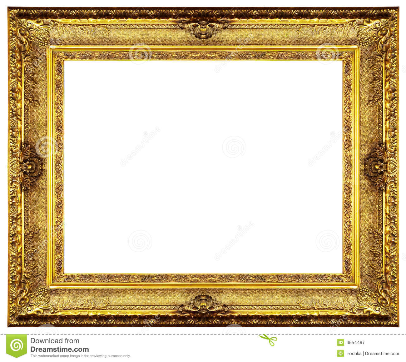 Gold Frame Border Clip Art | Chipped vintage gold ornate frame. Isolated on white.