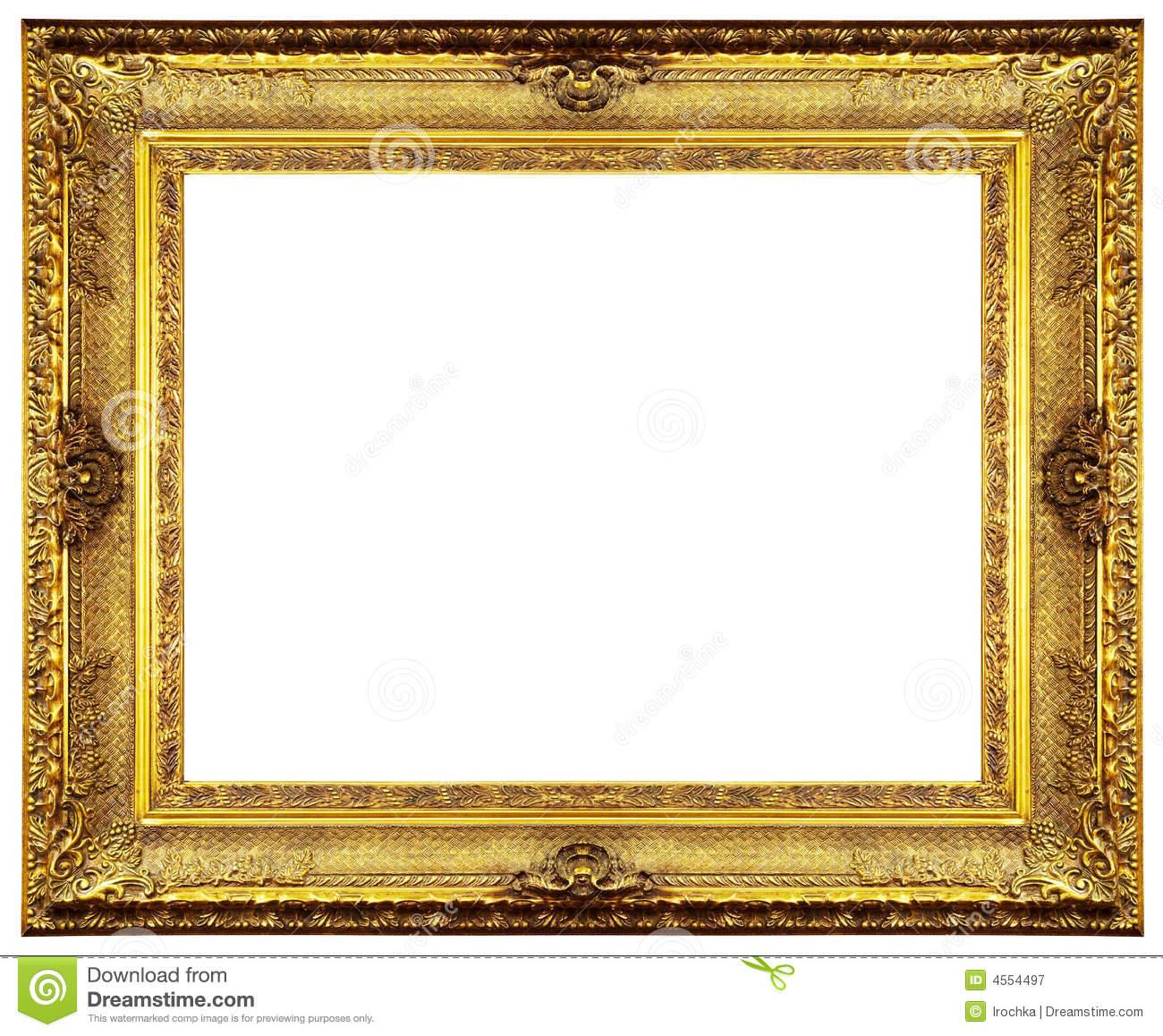 Gold Frame Border Clip Art | Chipped vin-Gold Frame Border Clip Art | Chipped vintage gold ornate frame. Isolated on white.-18