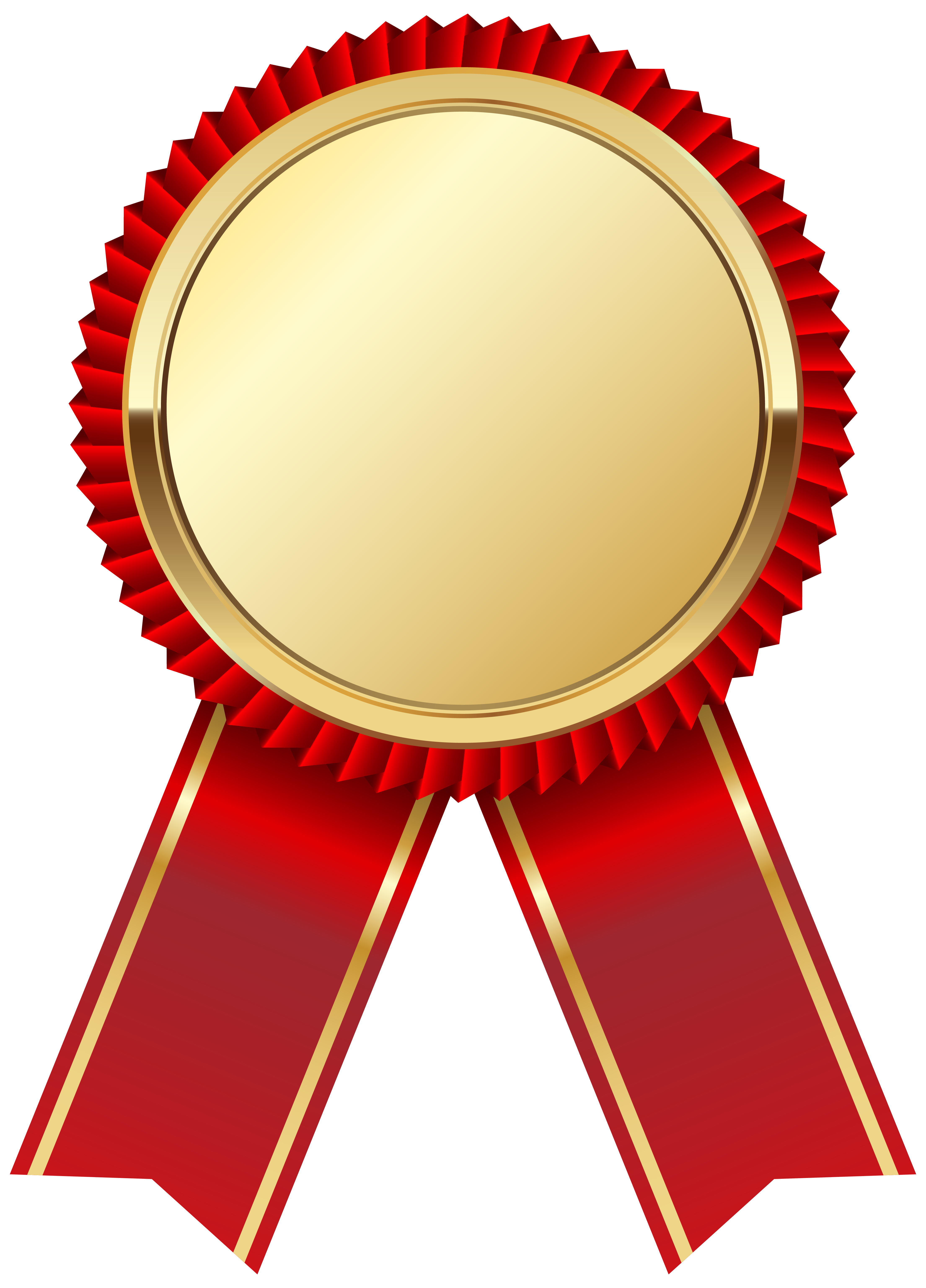 Gold Medal with Red Ribbon PNG Clipart Picture