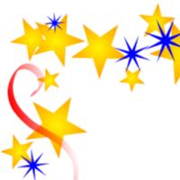 Gold Red Blue Scatter u003cbu - Star Border Clipart