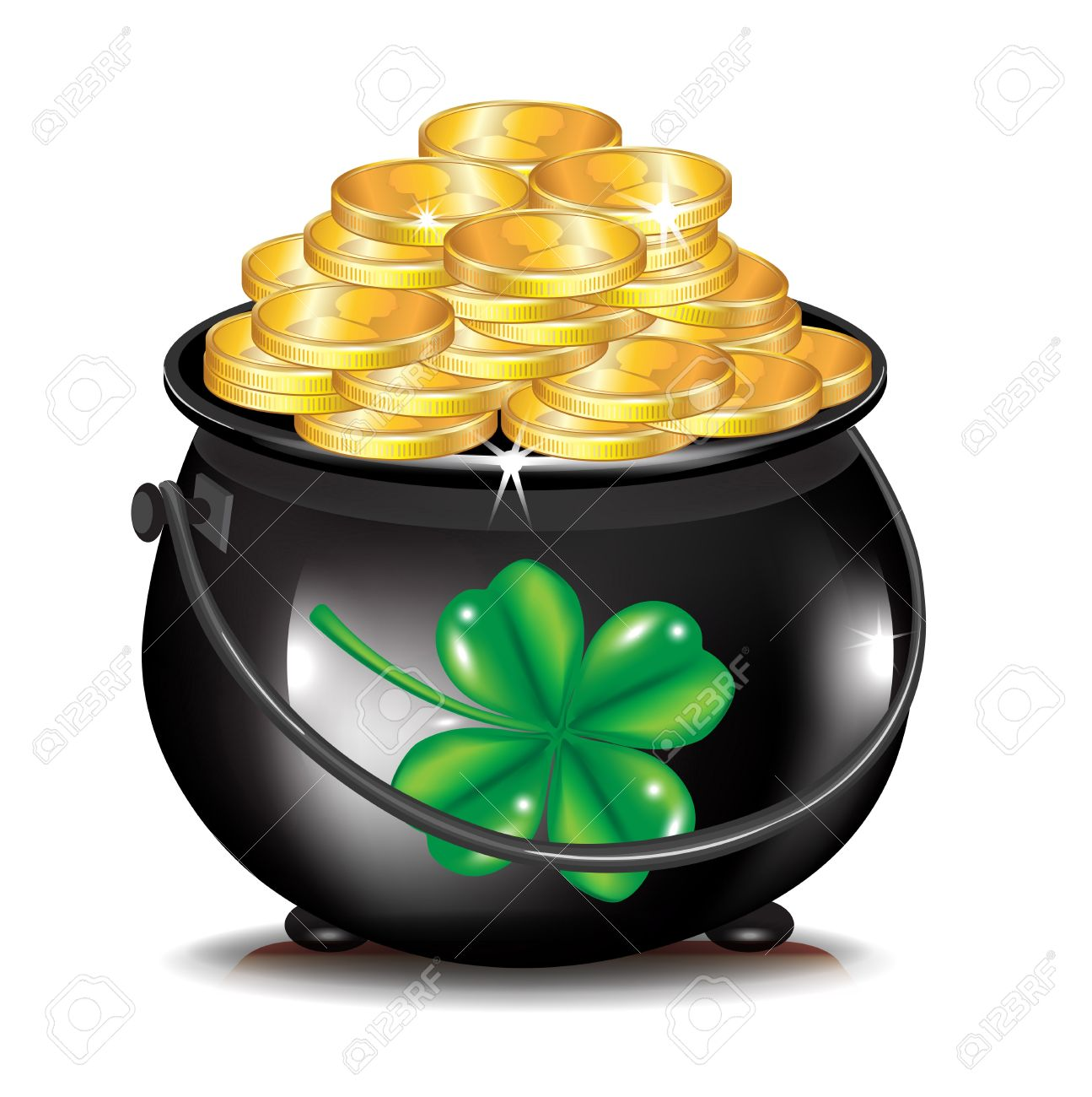 golden coins in black pot and .