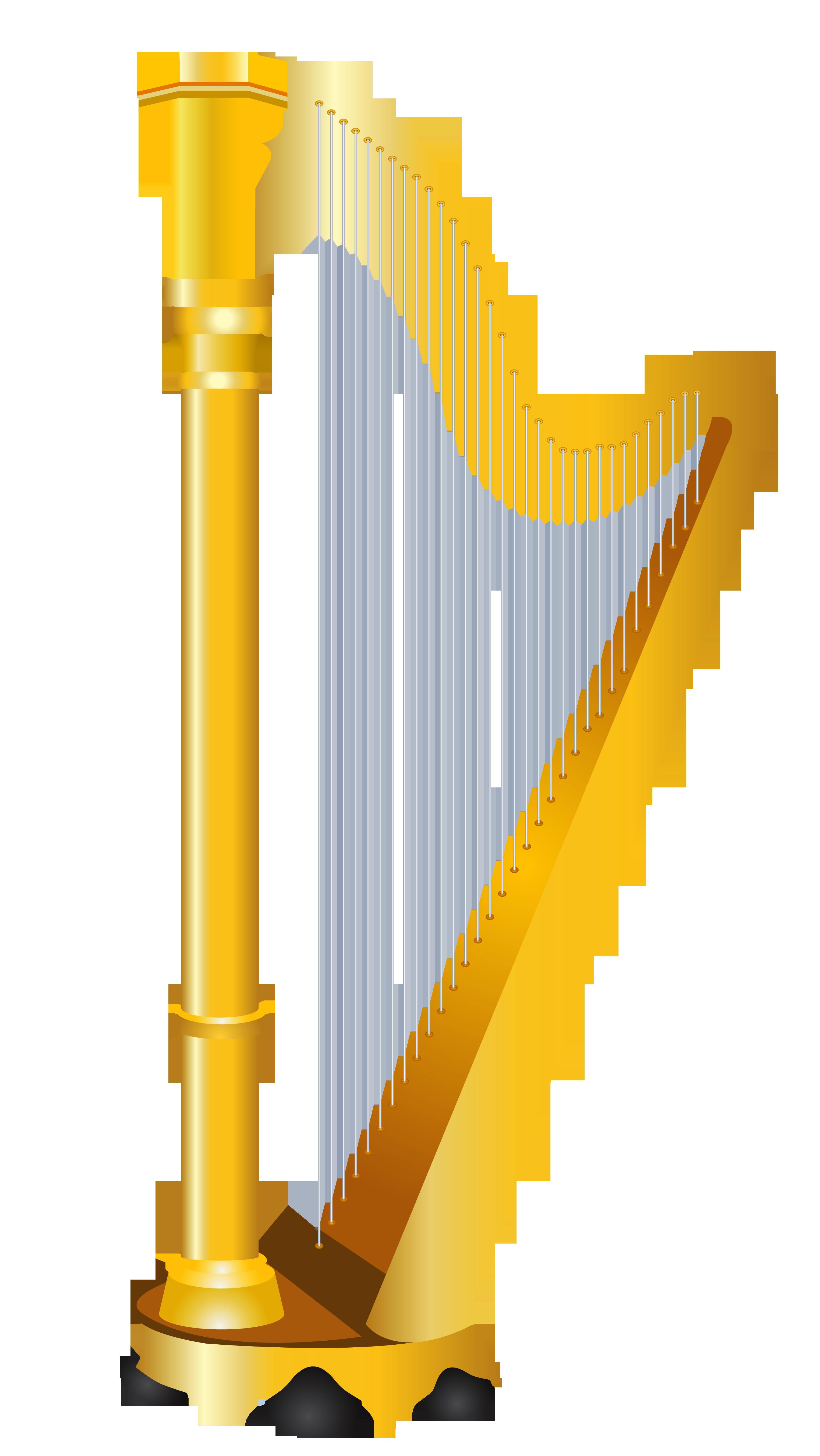Golden harp clipart kid