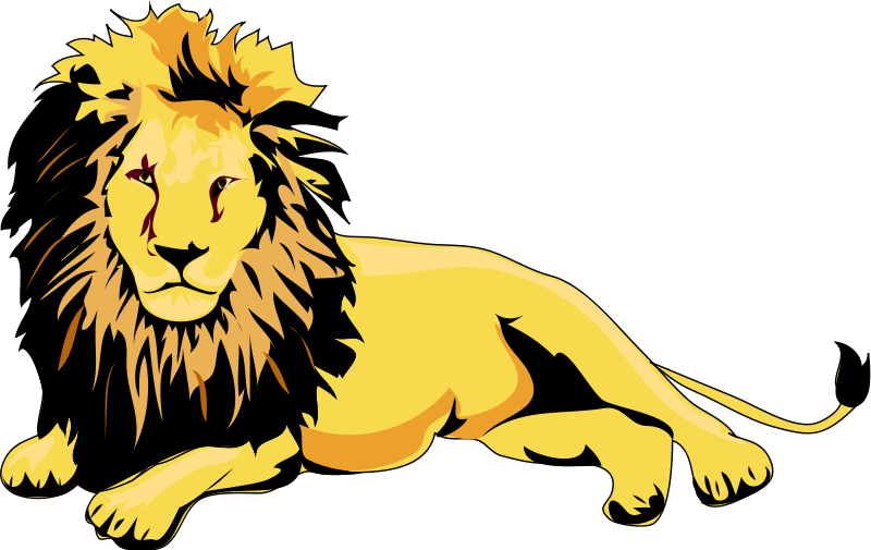 Golden Lion Sitting Clip Art