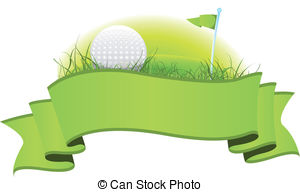 Golf Banner - Illustration of a green golf banner with.