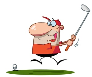 Golf Clipart Image: Whacky cartoon golfe-Golf Clipart Image: Whacky cartoon golfer playing golf with great enthusiasm-19