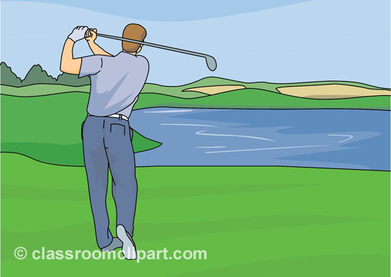 Golf Clipart Male Golfer Swinging Golf Club 812 Classroom Clipart