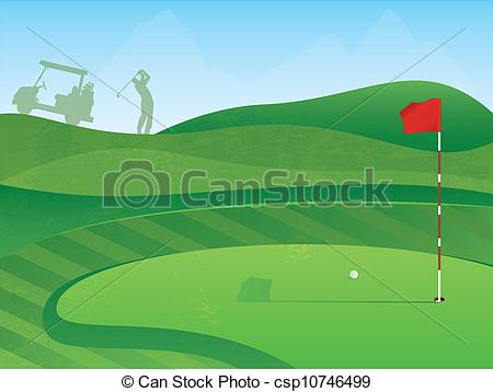 ... Golf Course Hole - Golf Course Layout with Red Flag and Ball.