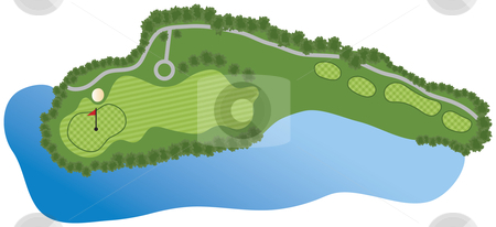 Golf Course Hole Stock Vector Clipart Golf Course Hole With Bunker