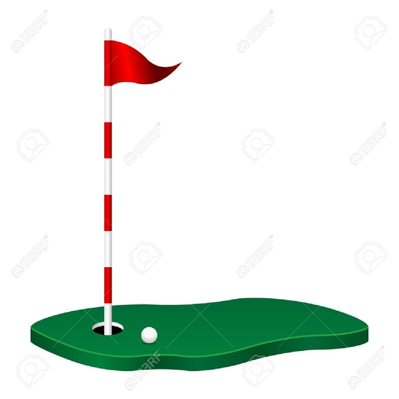 Golf Flag: Golf Theme With Green Flag Po-golf flag: Golf theme with green flag pole and ball-10