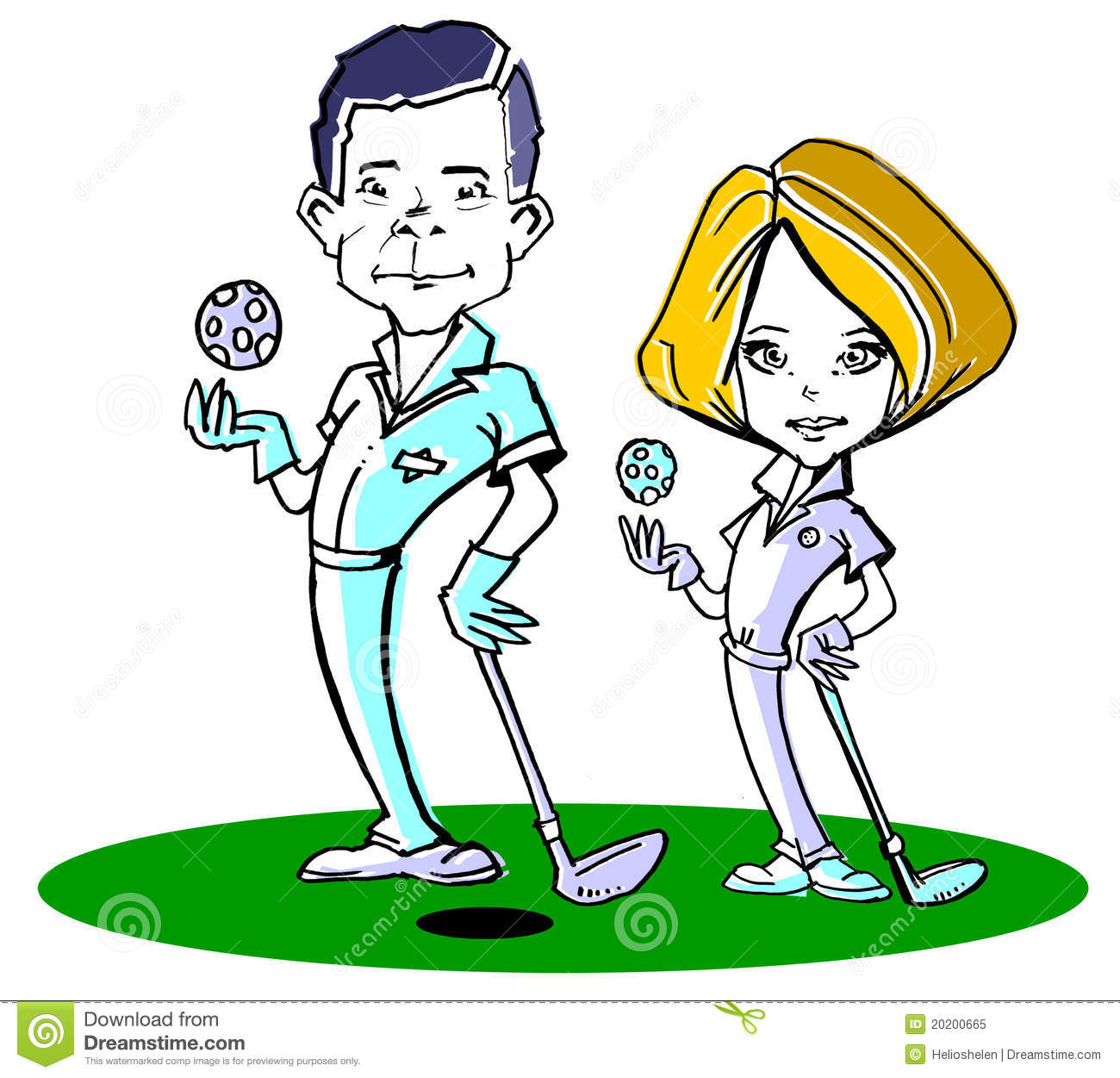 Golfer Couple Clipart