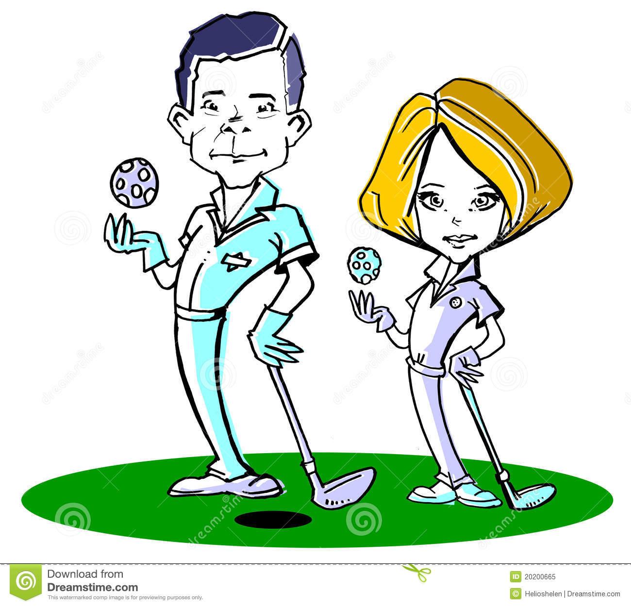 Golfer Couple Clipart