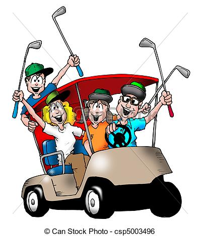 ... Golfing Family - Image Of A Family P-... Golfing Family - Image of a family playing golf, and riding.-10