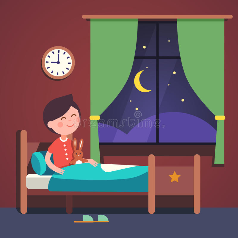 Download Boy Kid Preparing To Sleep Bedtime In His Bed Stock Vector -  Illustration of object