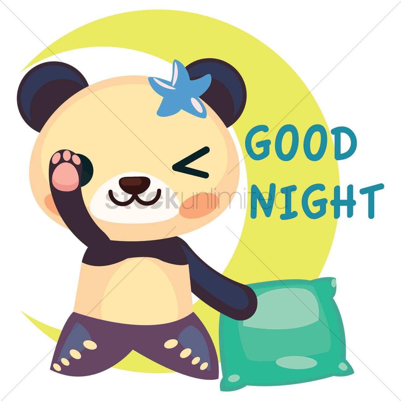 Free panda in mermaid costume saying goodnight vector graphic