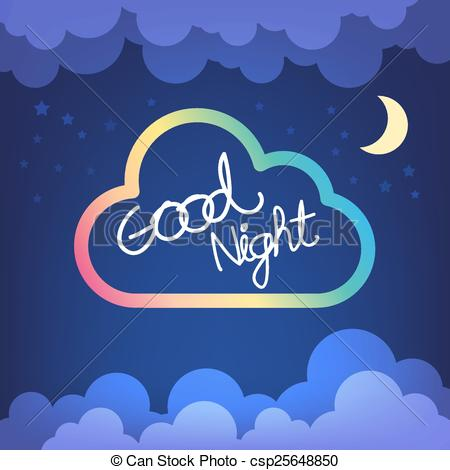 Good Night Letter With Cloud And Sky Vec-Good Night Letter With Cloud And Sky Vector-14