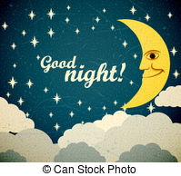 . ClipartLook.com Good Night - Retro Ill-. ClipartLook.com Good night - Retro illustration of a smiling moon wishing.-16