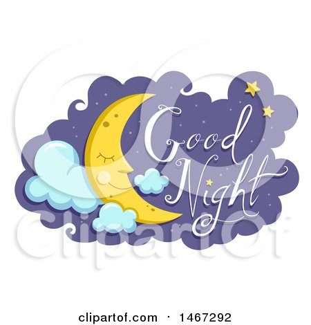 Happy Sleeping Crescent Moon With Good Night Text by BNP Design Studio