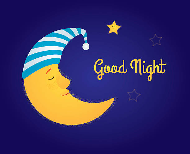 moon and stars good night vector art illustration