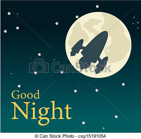 ... Good Night Over Sky Background Vecto-... good night over sky background vector illustration-11