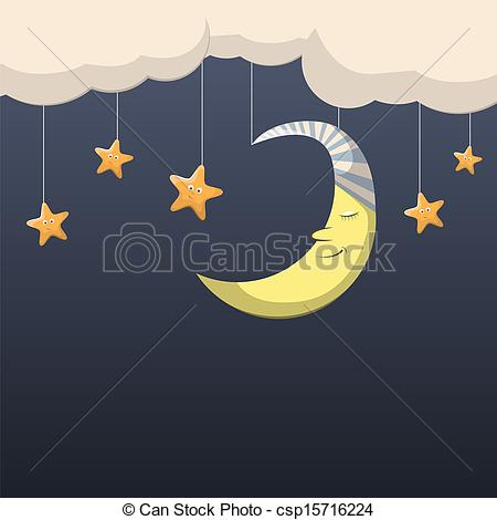 ... Good Night - Vector Night Scene With-... Good night - Vector night scene with moon and stars Good night Clip Artby ...-16