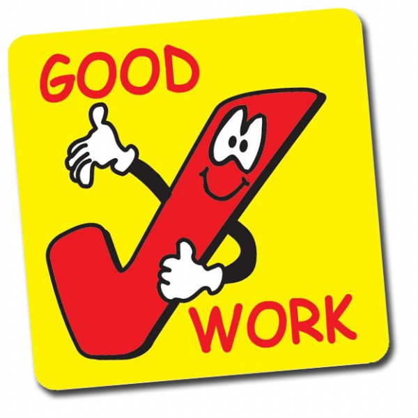 Good Work Tick 16mm Square Stickers Shee-Good Work Tick 16mm Square Stickers Sheet Of 140-15