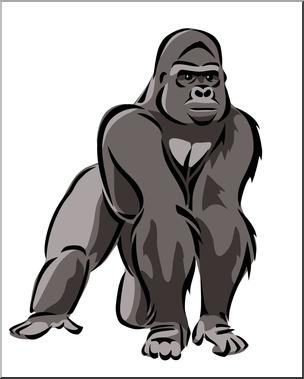 Clip Art: Gorilla 2 Color 1 I Abcteach C-Clip Art: Gorilla 2 Color 1 I abcteach clipartlook.com - preview 1-5